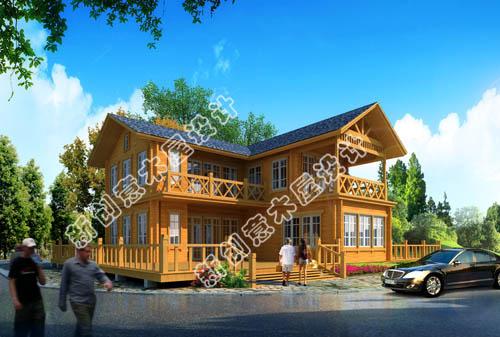 二层木屋效果图-绥芬河新创意木屋设计有限公司